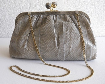 vintage bag, snakeskin clutch, 1980s