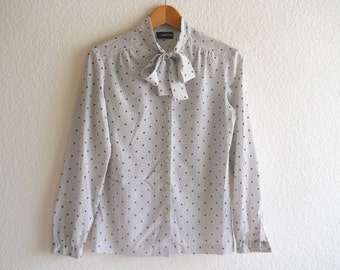 vintage secretary blouse - full of dots and an ascot tie