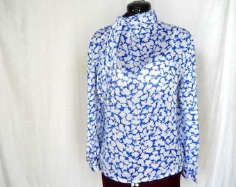 vintage blouse, blue abstract floral print