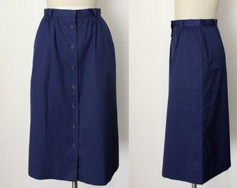 vintage cotton skirt, cobalt blue