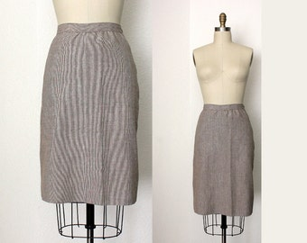 vintage linen pencil skirt, tan