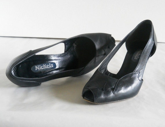 vintage peep toe pumps with cutouts *** PRICE REDUCED ***