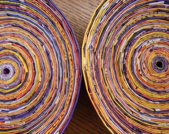 Recycled Magazine Bowl Set - Purple, Yellow, & Orange