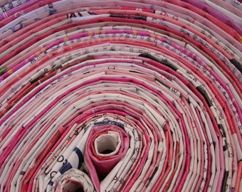 Recycled Magazine Bowl - Oval. Pink & White
