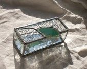 Stained Glass Trinket Box natural agate bevels glacier glass