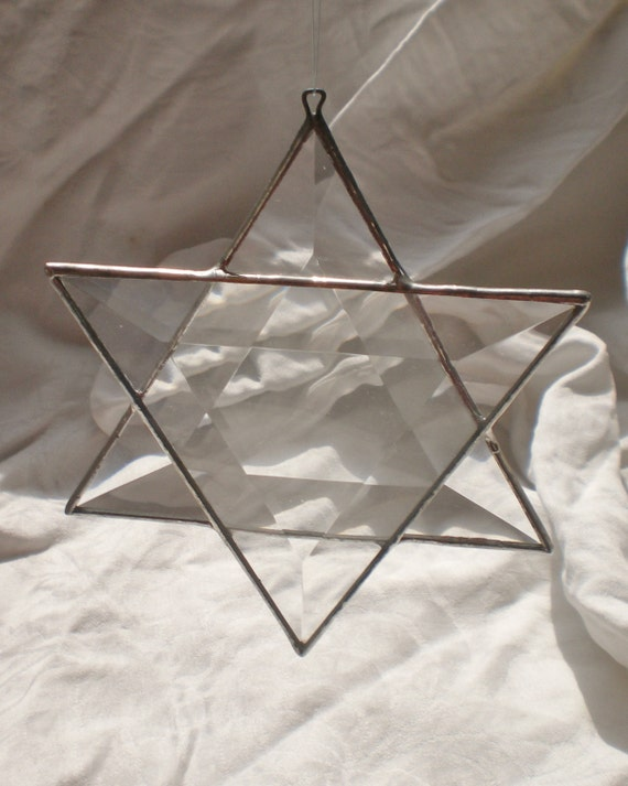 Star of David Suncatcher beveled stained glass