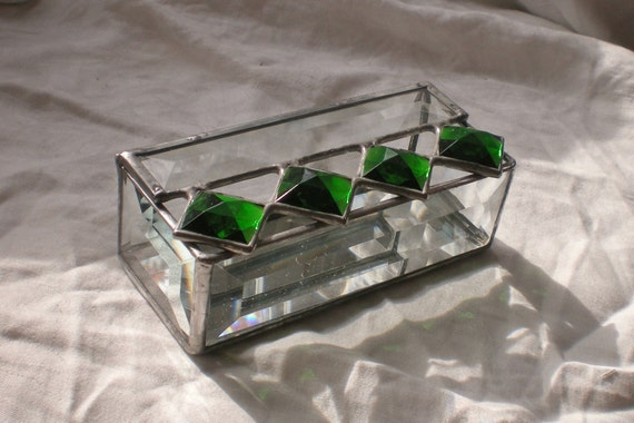 Stained Glass Trinket Box emerald green jewels and bevels jewelry box
