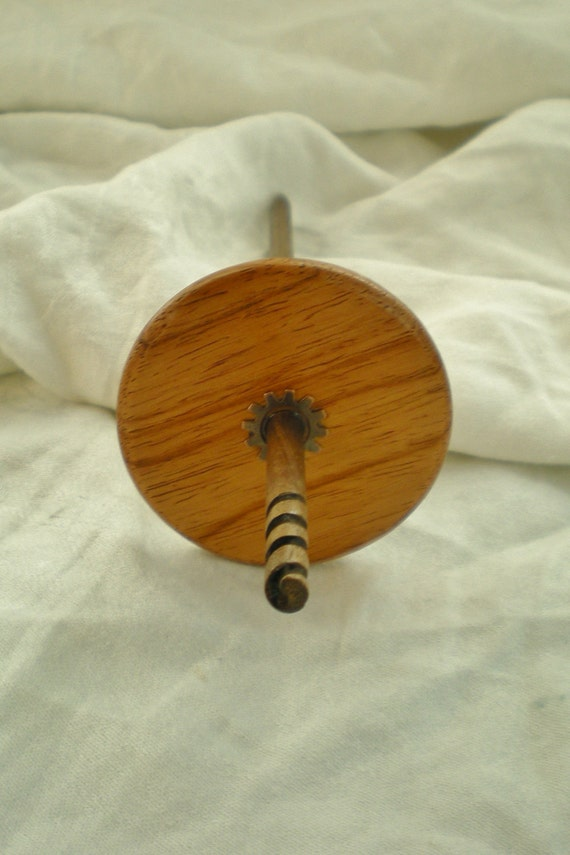spiral hook drop spindle Yucatan Rosewood and Walnut laceweight top whorl gear steampunk 15 g