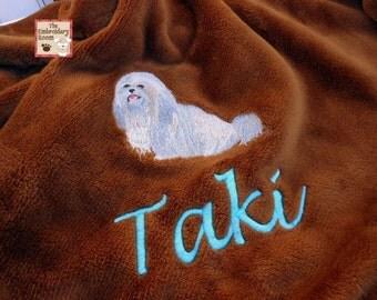 Lhasa Apso Embroidered Dog Blanket
