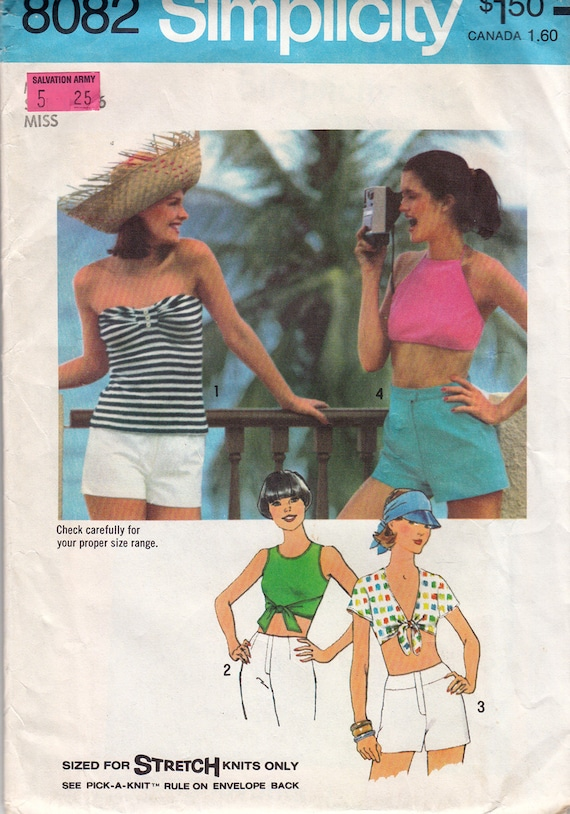 1970s Pattern Cool Stretch Knit Halter, Strapless, Tie-Front Tops Simplicity 8082
