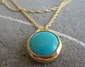 Turquoise Necklace - Turquoise Gold Necklace - Layering Necklace - Gemstone Necklace - Stone Pendant - Golden and Turquoise Pendant