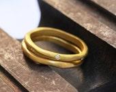 18k Yellow Gold and Diamonds Wedding Set