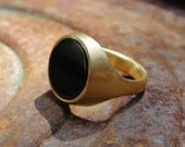 Onyx Ring ,Gold Plated Ring , Statement Ring ,18k Gold Plated and Black Onyx Ring