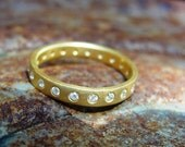 Eternity Wedding Band , Diamond Eternity Ring , Handmade Gold Ring  , Anniversary Gold Ring - 18K Solid Gold