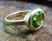 Peridot Ring -  Gold  Ring - 14k Gold And Peridot Ring - Statement Ring , Gold Cocktail Ring