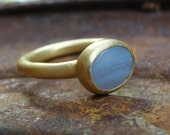 Blue Agate and 18k Gold Ring