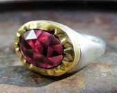 Gold Ring , Silver Ring , Garnet Ring ,  Gold and Silver Ring , 22k yellow gold with Garnet and sterling silver Ring