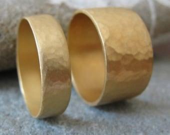 Wedding Ring Set , Hammered Wedding Bands , Matching Hammered Wedding Rings , Matching Wedding Rings , His and Hers Wedding Set