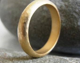 Wedding Ring , Hammered Wedding Band , Gold Wedding Band , Half Round Wedding Band , Unisex Wedding Band , Handmade Wedding Ring
