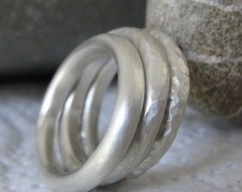 Silver Stacking Ring , Stacking Rings , Silver Hammered Rings , Stacking Ring Set - Silver Handmade Ring