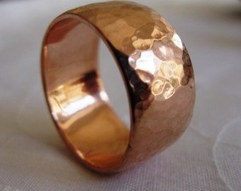 Hammered Wedding Band , Red Gold Wedding Ring , Texture Wedding Band , Gold Wedding Band , Texture Ring , His and Hers Wedding Ring