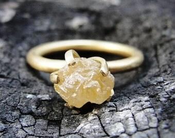 Raw Diamond Ring , Rough Diamond Engagement Ring , Raw uncut Diamond Solitaire Ring , Gold Engagement Ring , Diamond Engagement Ring