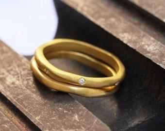 Wedding Band Set , Diamonds Wedding Set , Diamonds Ring , Diamond Engagement Ring Set , Gold Diamonds Ring , Engagement and Wedding Ring Set