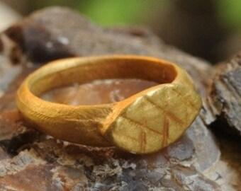 Gold Signet Ring , Pinkie Signet Ring , Roman Signet Ring , Ancient Signet Ring ,