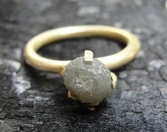 Raw Diamond Ring - Diamond Engagement Ring-  Rough Diamond Engagement Ring - Solitaire Ring - Alternative Engagement Ring