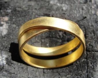 Gold Criss Cross Ring , Gold Cross Ring , Sterling Silver Cross Rings ,  Gold X Ring , Gold Wedding Band , Gold Band , Handmade Gold Ring
