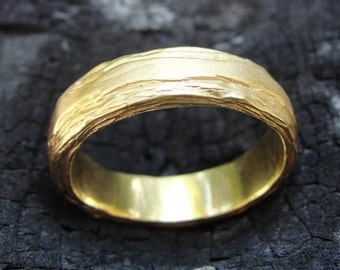 Unique Wedding Band , Texture Wedding Ring , Unique Wedding Ring , Gold Wedding Band , Handmade Wedding Ring , Unisex Wedding Ring