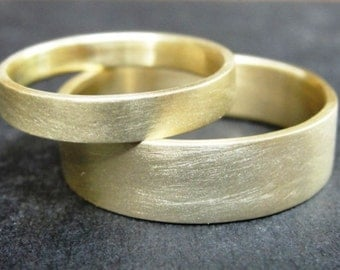 Wedding Band Set - Wedding Rings - Gold Wedding Bands Set - Matching Wedding Rings - Unique wedding ring set - His and Hers Wedding Rings