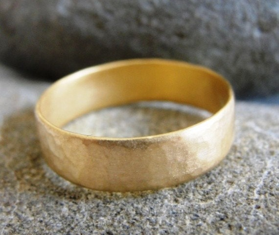 Gold Wedding Band - Hammered Wedding Ring -  for Him and Her