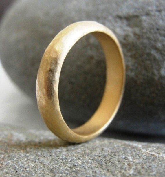 Wedding Ring , 18k Solid Gold Hammered Band , Wedding Band , Gold Wedding Band , Handmade Wedding Ring