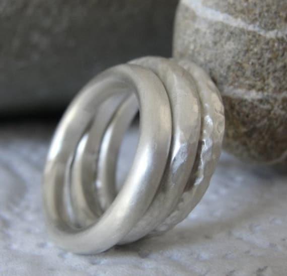 Silver Stacking Ring , Stacking Rings , Silver Hammered Rings , Stacking Ring Set - Silver Handmade Ring