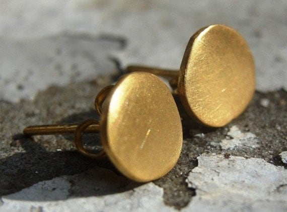 Gold Stud Earrings , 24K Gold plated Studs , Post Earrings , Gold Plated Earrings ,