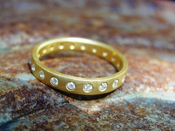 Eternity Wedding Band , Diamond Eternity Ring , Handmade Gold Ring  , Anniversary Gold Ring - 18K Solid Gold