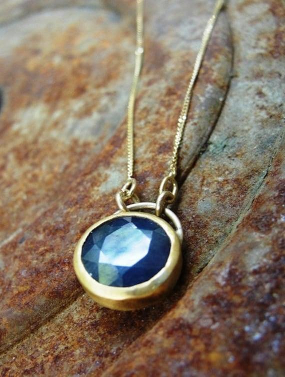 Sapphire Necklace -  Gold Necklace - Blue Sapphire Necklace - Sapphire Gemstone Necklace - Sapphire Gold Necklace