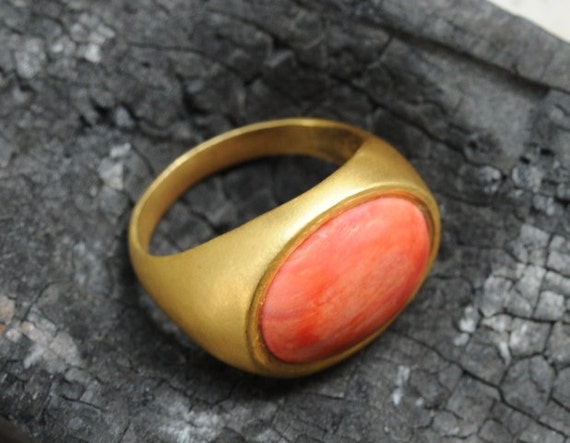 Coral Statement Ring - Coral Ring - Gold Ring - Statement Ring - Cocktail Ring - Gold Coral Statement Ring - Coral and 18k Yellow Gold  Ring