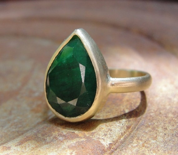 Green Emerald Ring , Gold Ring , Engagement Ring , Statement Ring , Cocktail Ring , 14k Gold and African Emerald Ring