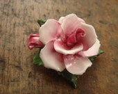 Vintage Staffordshire Bone China Rose Brooch