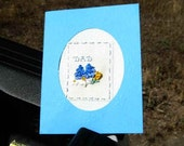 Father's Day card in blue Silk Ribbon Embroidery