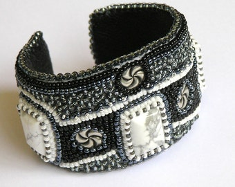 Bead embroidered cuff bracelet black white