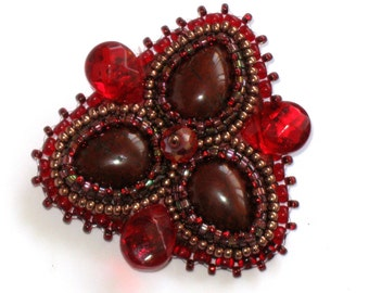 Royal Brooch red natural jasper embroidery evening dress