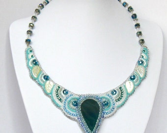 "Embroidered beaded necklace ""Dove"""
