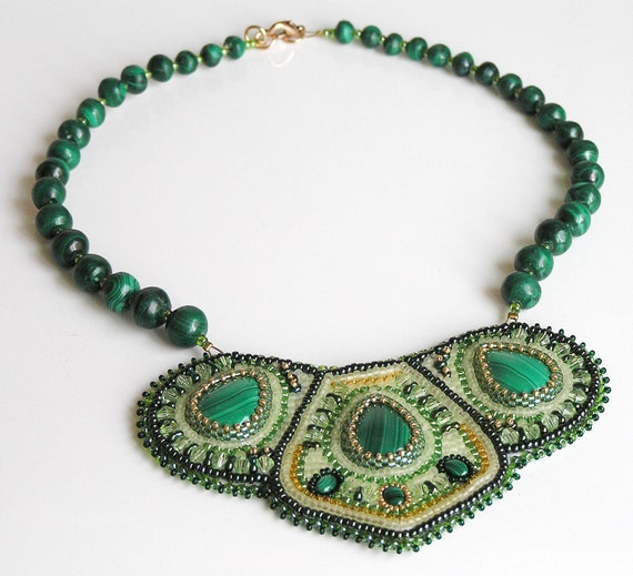 "Malachite embroidered necklace   ""Spring"" Handmade Jewelry"