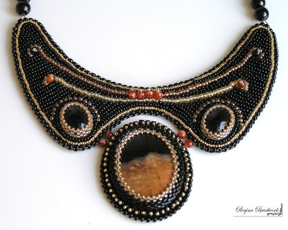 "Bead Embroidery necklace brown black  ""Sunset in the desert""."