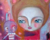 Bunny and girl bear - Fine art print mixed media art whimsical red pink purple sweet