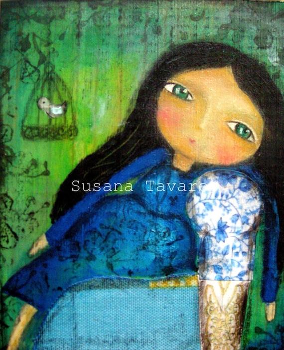 Pregnant  woman art print wall art mixed media - WAITING