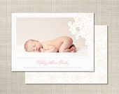 "Sweet Pink Hand Drawn Flower Photo Birth Announcements ""Charming Floral"" by Sincerely, Jackie"